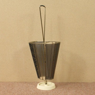 Umbrella Stand with perforated plate & brass 50s