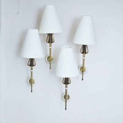 Set of 4 vintage wall lamps, 1950s