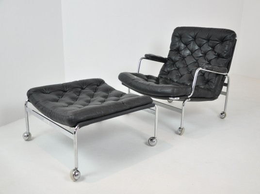 Karin Lounge Chair with Footstool by Bruno Mathsson, 1970s