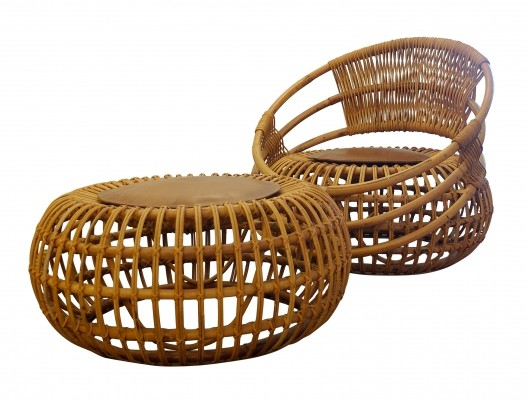 Voluptuous Outdoor Set in Rattan for Bonacina by Ico Parisi