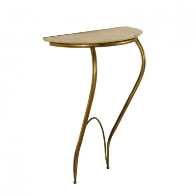 Console Table in Brass & Marble, Italy 1950s