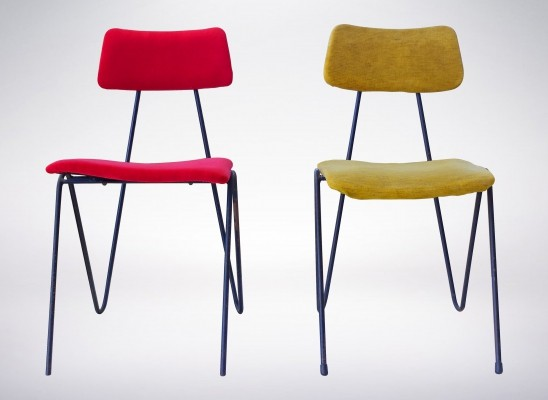 Modernist Yellow & Red Chairs by Fratelli Saporiti, 1950s