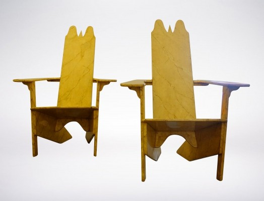 Pair of Gino Levi 'Montalcini' Wooden Lounge Chairs from 1927