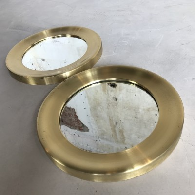 Mid-Century Pair of Patinated Brass Mirrors by Glas Mäster Markaryd, Sweden 1960s