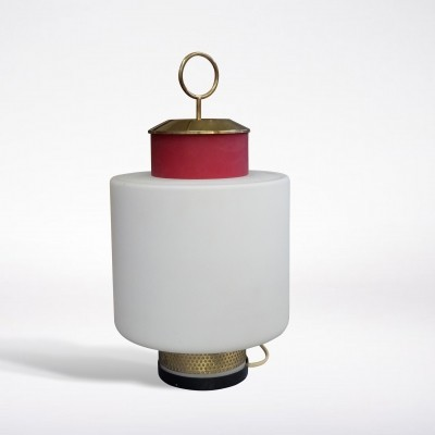 Mid-Century Modern Red Glass & Brass Table Lamp by Stilnovo, 1950s