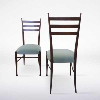 Set of 4 Wooden Chairs with Blue Velvet Seats by Guglielmo Ulrich, 1960s