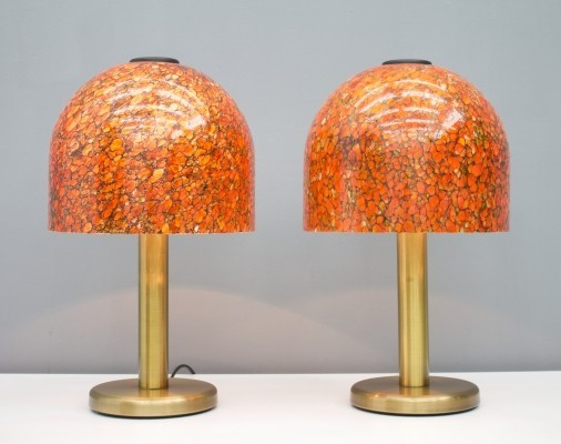 Pair of Glass & Brass Table Lamps by Peil & Putzler Germany, 1970s