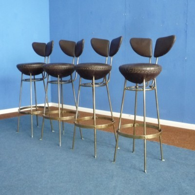 Mid Century Leather & Metal Bar Stools, 1950s