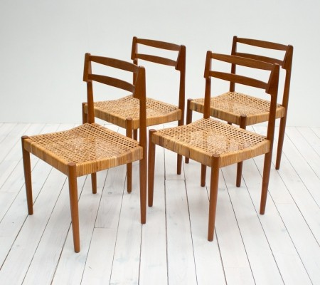 Danish Teak & Cane Dining Chairs by Kurt Østervig for Randers Mobelfabrik