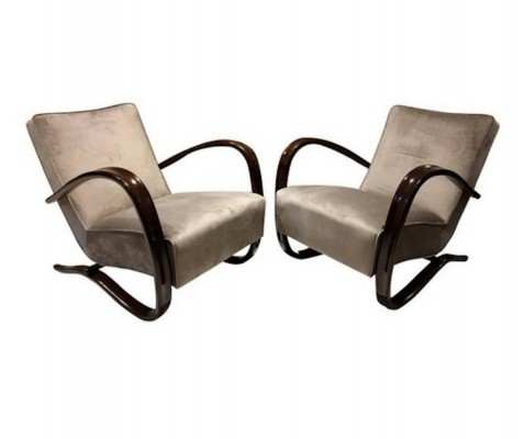 Pair of Grey Armchairs Kreslo H269 by Jindrich Halabala