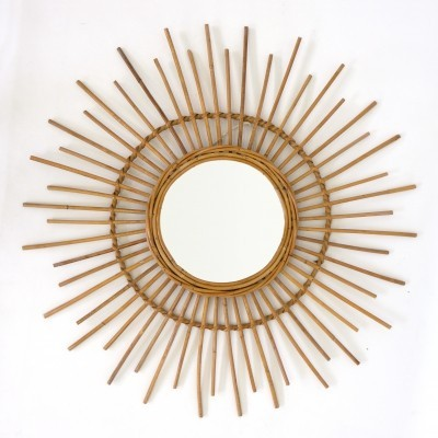 Large vintage mirror in rattan, 1960's