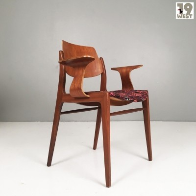 Modernist teak wood armchair by Hartmut Lohmeyer for Wilkhahn
