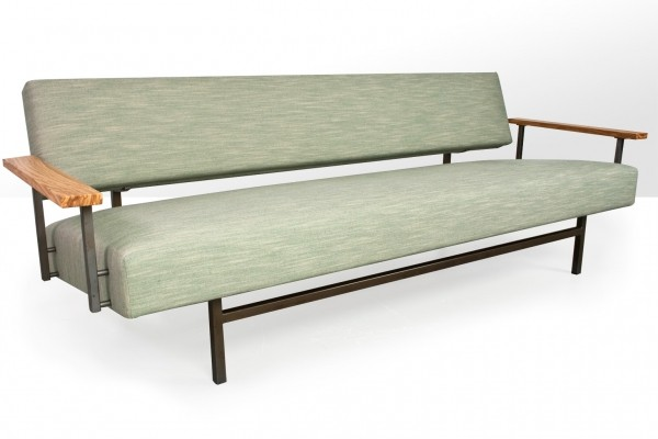 Rob Parry sofa in Linnen fabric ,metal frame & olive floating armrests, 1960s