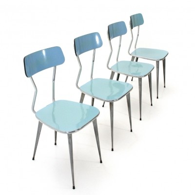 Set of 4 Formica & metal dining chairs, 1950s