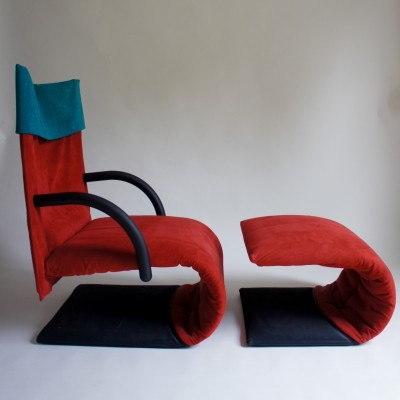 Ligne Roset Zen Chair & Footstool By Claude Brisson