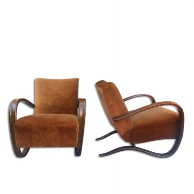 Pair of Lounge bentwood armchairs H-269 designed by Jindrich Halabala