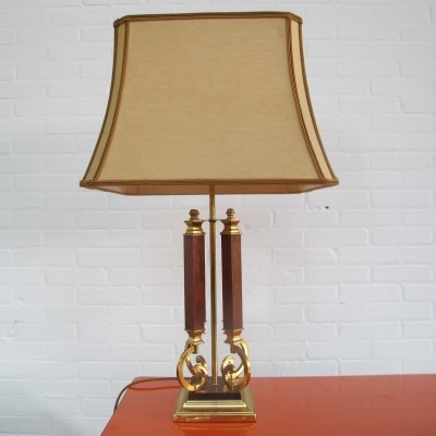 Vintage brass & wood table lamp, 1970s