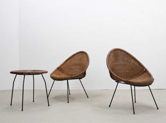 Set of 2 mid century rattan armchairs + coffee table by F. lli Uraghi, 1950s