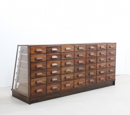 Large italian walnut & glass chest of drawers, 1900s