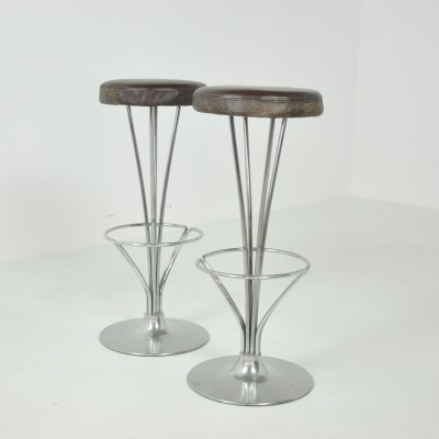 Pair of Bar Stools by Piet Hein, Denmark 1980s
