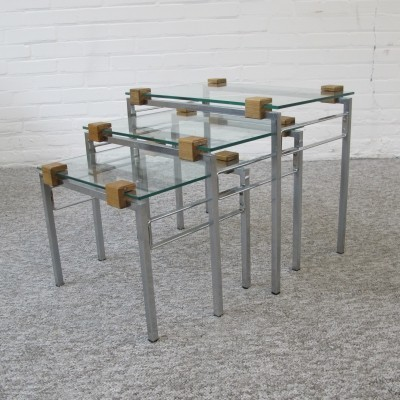 Glass chrome & teak set of nesting tables, 1960s