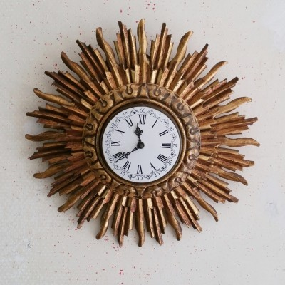 Wooden Sunburst Clock by Stijlklokkenfabriek C.J.H. Sens en Zn., 1960s