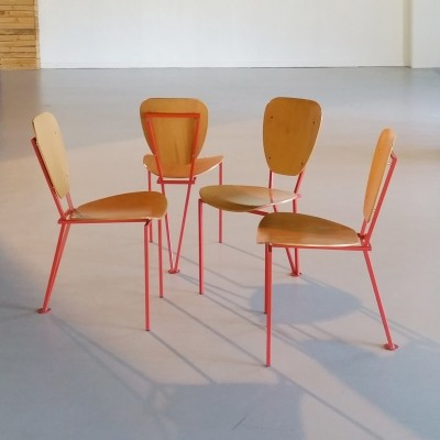 Set of 4 Industrial Plywood Tripod Chairs, 1970s