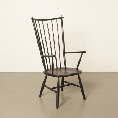 Black wooden Danish spindle chair