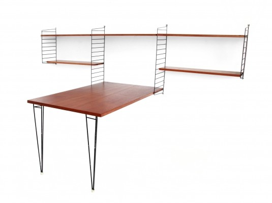 Vintage Nisse Strinning wall system in Teak with rare table