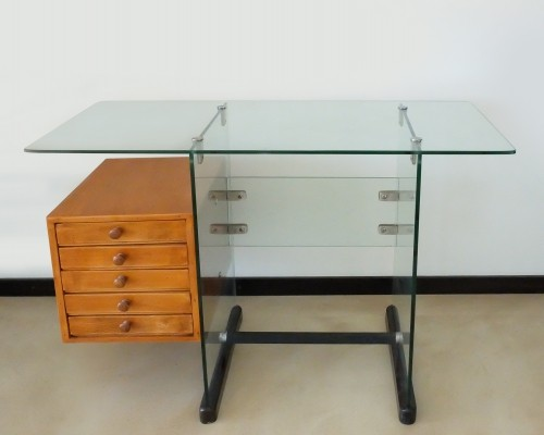 Italian Mid-Century Modern Wood & Glass Desk by Gio Ponti for Vetrocoke, 1939