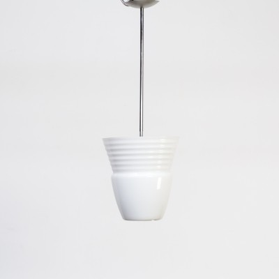 70s Opaline pendant hanging lamp for Artemide