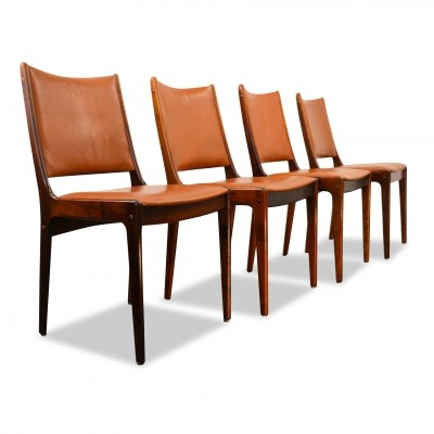 Set of 4 Vintage Johannes Andersen palisander dining chairs