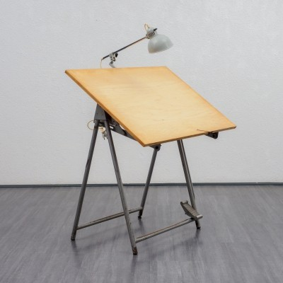 Industrial style drawing table, 1950s