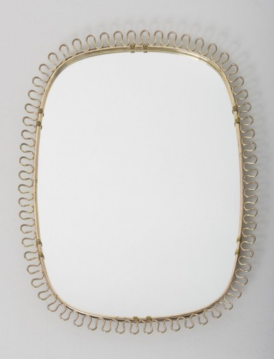 Wall mirror with brass scrolls by Josef Frank, Sweden 1950's