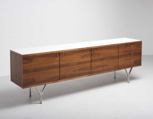 Minimal sideboard in rio palissander with Y-shaped feet, 1960's