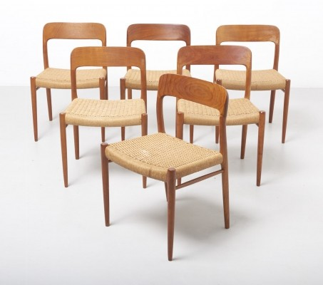 Set of 6 paper cord dining chairs by Niels Møller, Denmark 1954