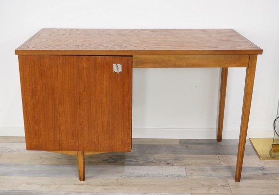 Teak Wooden Design Desk By CombinEurop, Belgium 1950s
