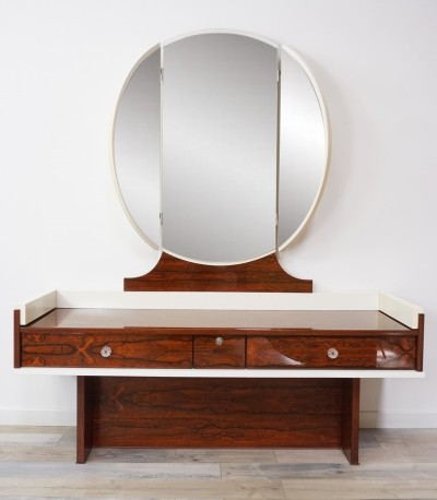 Space Age Rosewood And White Lacquer Glossy Dresser with mirror