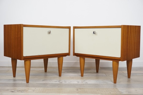 Teak Wooden & White Lacquer Pair Of Bedside Tables, 1960s
