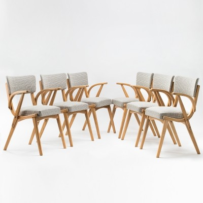 Set of 6 Skoczki chairs with armrests by Fabryka Mebli Giętych Radomsko