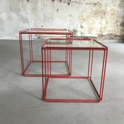 Set of Two Graphical 'Isocele' Side Tables by Max Sauze, France 1970s