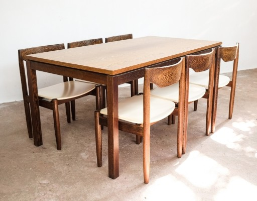 Belgian dining set in wenge, 1960s