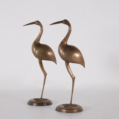 Pair of 1970's brass ibis