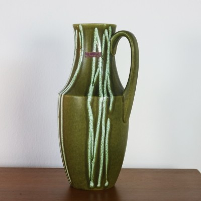 Decorated green vase by Scheurich, 1960s