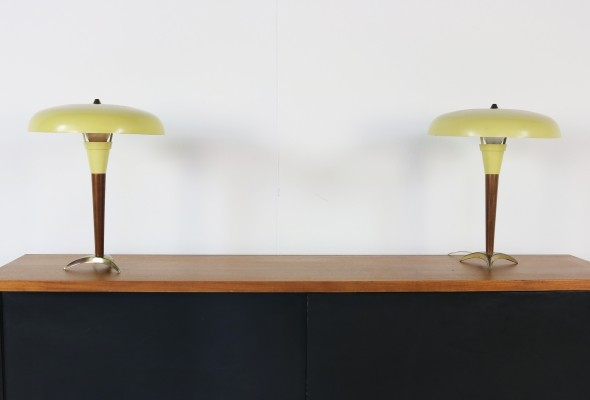 Pair of mustard yellow table lamps by Philips, 1950s