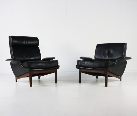 Pair of leather & rosewood 'Adam & Eve' lounge chairs by Ib Kofod Larsen