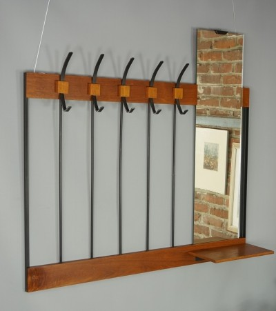 Teak Wooden And Black Metal Wall Mounted Coat Rack, 1950s