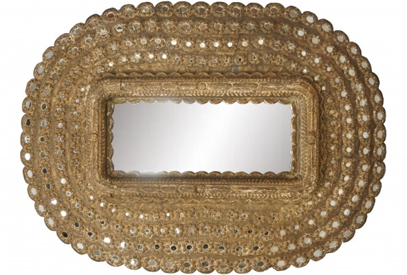 XXL Multi Faceted Ethnic Style Mirror with Wooden Structure