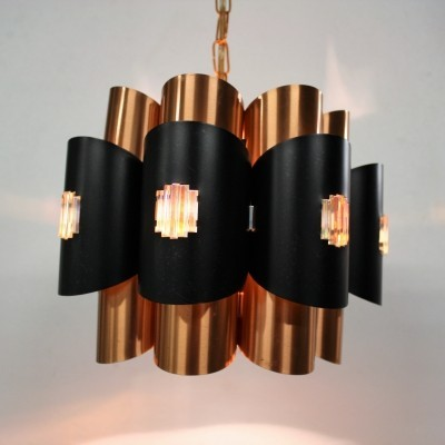 Vintage copper pendant light by Werner Schou, 1960s