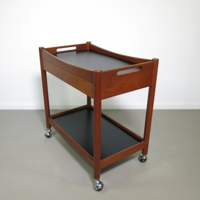 Stylish teak serving cart with drawer